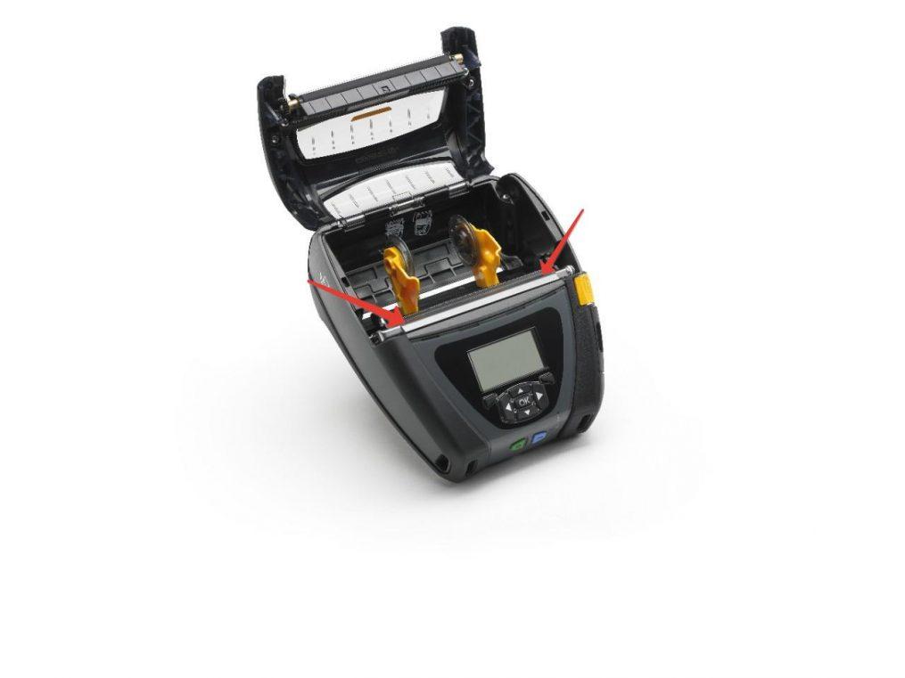 Расположение термоголовки на мобильном термо-принтере Zebra QLn420